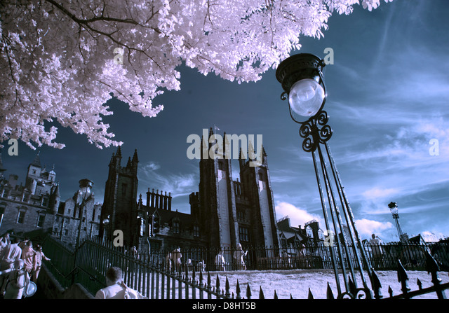 Edinburgh city Playfair steps in IR Infrared, Scotland UK - Stock Image
