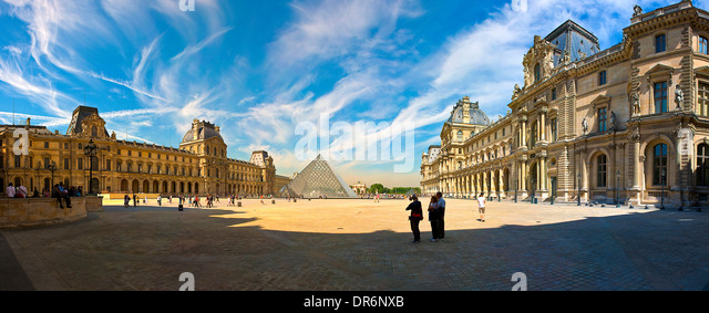 Louvre museum in Paris, France - Stock Image