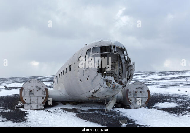 Wreckage of a Douglas Super DC-3 aircraft, Iceland - Stock Image