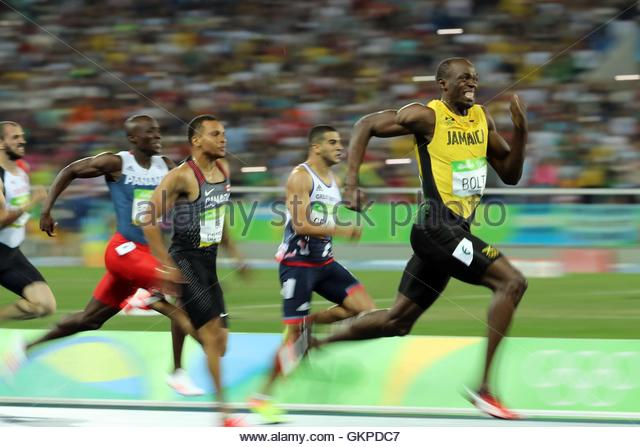 Rio de Janeiro, Brazil. 18th Aug, 2016. USAIN BOLT wins the Men's 200m Final at Olympic Stadium during the Rio - Stock-Bilder