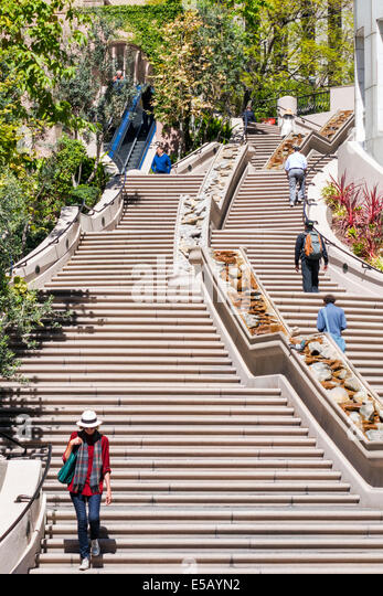 Los Angeles California CA L.A. Downtown Bunker Hill Steps Cardiac Hill 103 Steps stairway pedestrian route ascend - Stock Image