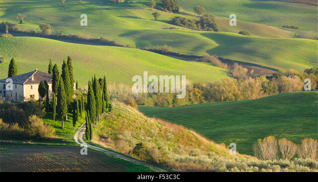 Europe, Italy, Tuscany, San Quirico d'Orcia.  Il Belvedere House, a country house in San Quirico d'Orcia. - Stock-Bilder