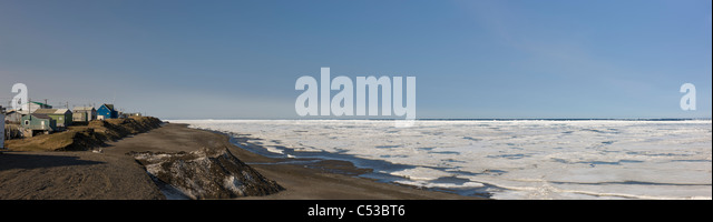 View of the northern most city in the United States, Barrow, located off the Chukchi Sea in the Arctic Ocean, Alaska - Stock Image