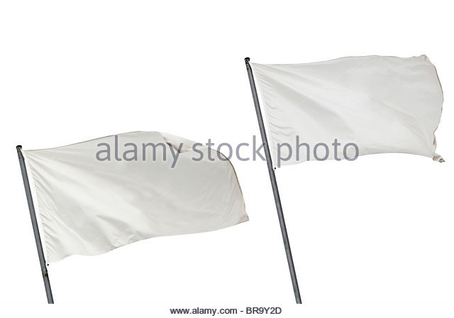 Two white flags waving on the wind. Isolated over white. - Stock-Bilder