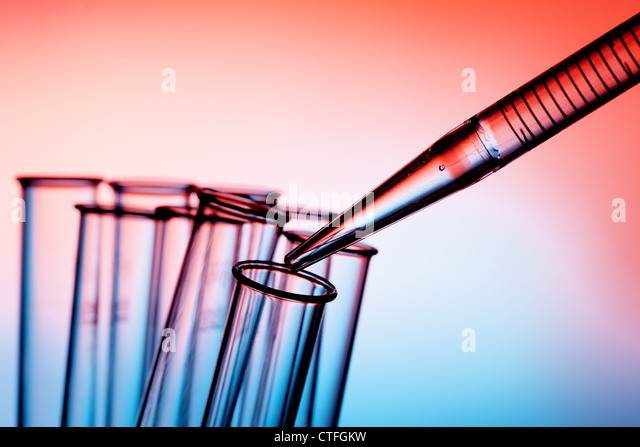 Pipette and test tube chemistry lab - Stock Image