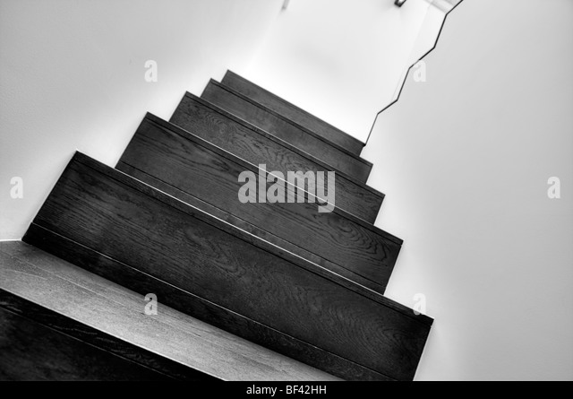 Black and White Shot of a Modern Staircase - Stock Image