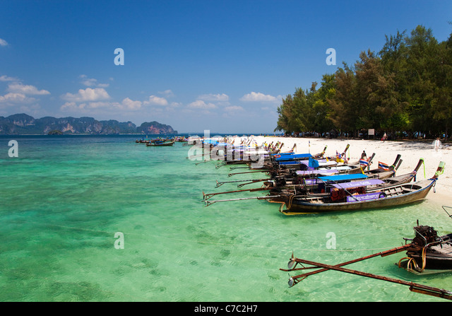 Mass Tourism on Poda Island, Krabi, Thailand - Stock Image