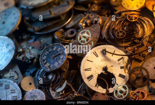 Pocket watch parts still-life, extremely detailed - Stock Image