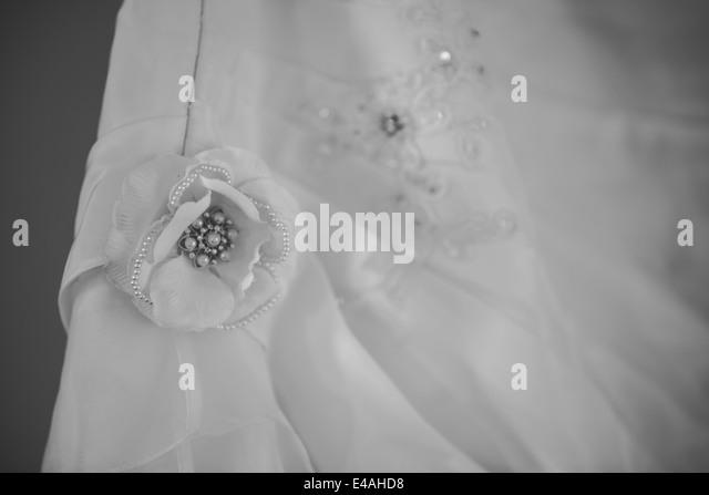 Wedding Dress with Flower - Stock Image
