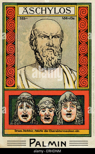 Aeschylus - illustrated portrait. Scene showing masks of his characters in plays. Greek philosopher, playwright - Stock Image