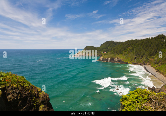 Heceta Head Lighthouse on the Pacific Ocean coast of Oregon Heceta Head Lighthouse on the Pacific Ocean coast of - Stock Image