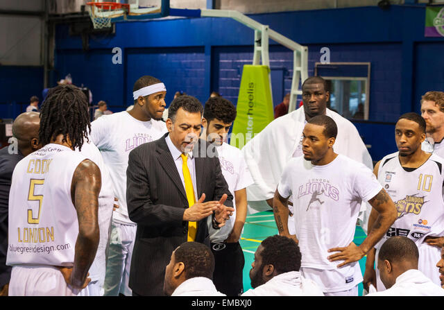Manchester, UK. 19th April 2015. London Lions head coach and CEO Vince Macaulay talks to his players during the - Stock Image