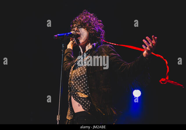 The American singer and songwriter LP performing live on stage at the Gruvillage Festival 2017 in Grugliasco, near - Stock Image