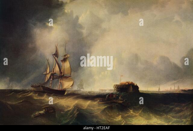 'A ship, and men in a rowing boat off Calais', c1830, (1938). Artist: Unknown. - Stock Image