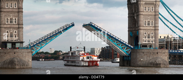 Detail of Tower Bridge London opening, England UK - Stock Image