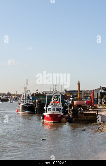 Fishing boats moored at Leigh on Sea - Stock Image