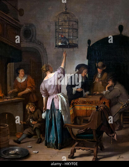 Interior with a Woman Feeding a Parrot, The Parrot Cage, by Jan Steen, circa 1660-70, oil on canvas, Rijksmuseum, - Stock Image
