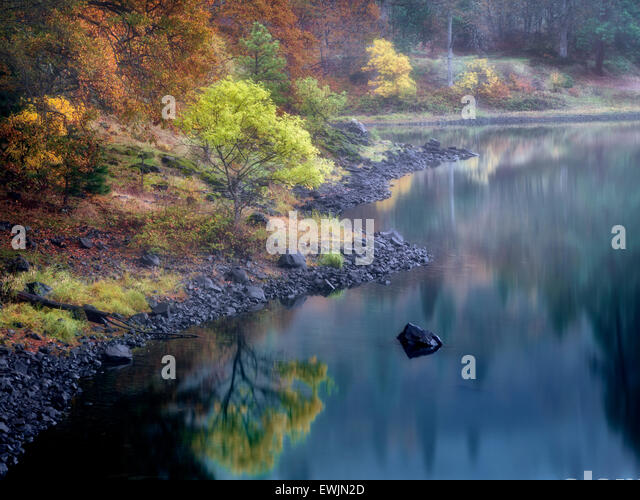 Small lake and fall color near the Colubmia River. Columbia River National Scenic Area, Washington - Stock Image