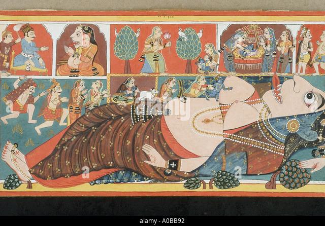 Krishna kills the demon Putana Malwa Dated 1690 A D - Stock Image