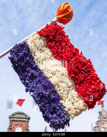 Flag of the Netherlands made from flowers at Dutch flower parade festival in Haarlem, Holland. - Stock Image