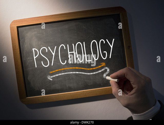 Hand writing Psychology on chalkboard - Stock Image