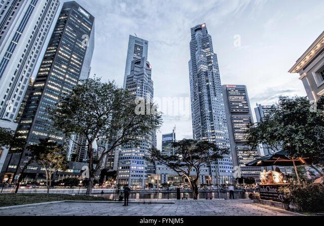 Asia Singapore, singapur skyline panorama - Stock Image