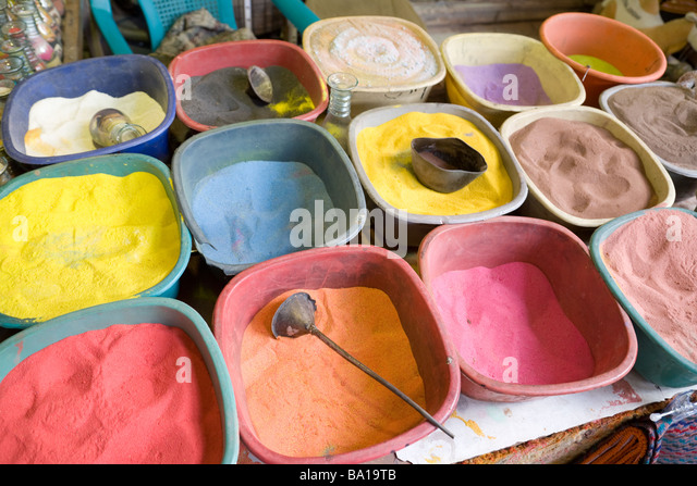Different coloured sand used to make sand bottles for tourist souvenirs, Jerash, Jordan - Stock Image