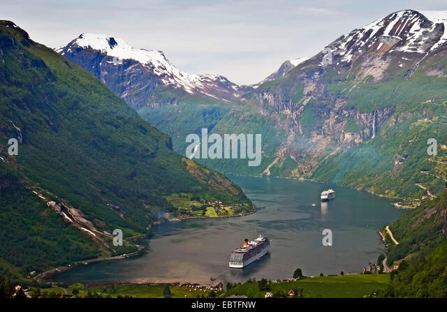 Geirangerfjord with cruise liners, Norway - Stock Image