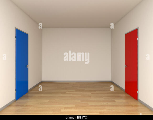 blue and red doors 3d image - Stock Image