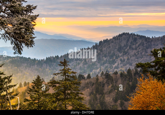 Autumn morning in the Smoky Mountains National Park. - Stock-Bilder