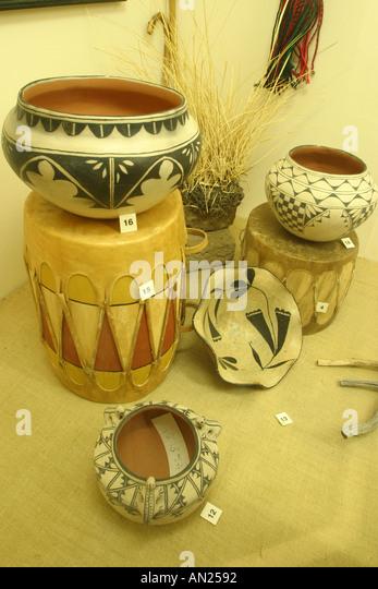 Albuquerque New Mexico Indian Pueblo Cultural Center Museum pottery exhibit W - Stock Image