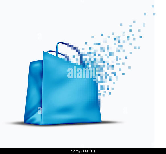 Online shopping and e-commerce concept as an internet store sale symbol with a shop bag that is transforming into - Stock Image