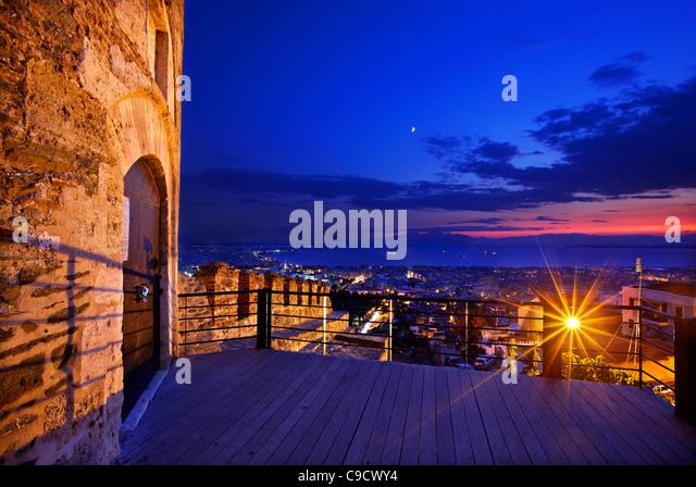 Pyrgos Trigoniou ('Trigoniou Tower') and part of the walls in Ano Poli ('upper town'), Thessaloniki, - Stock Image