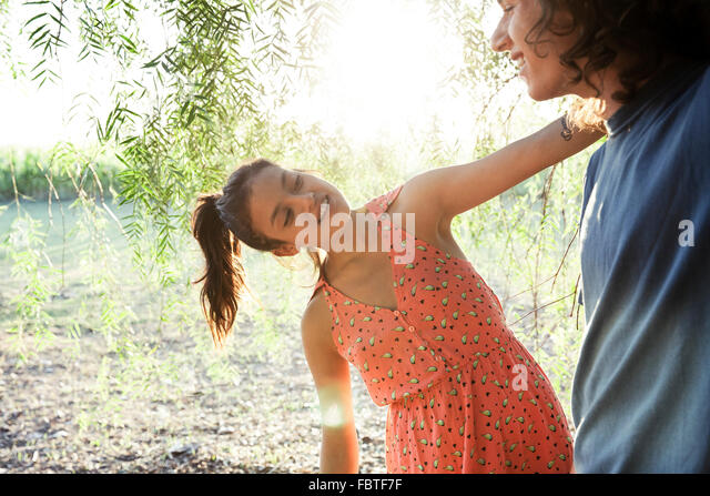 Young couple together outdoors - Stock-Bilder