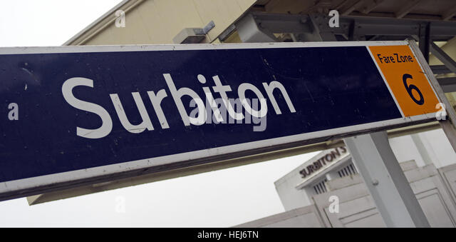Surbiton Railway Station,SW Trains, West London, England,UK fare zone six - Stock Image