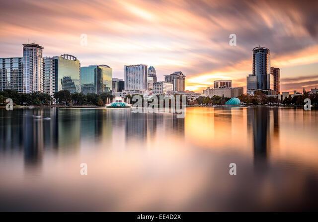 Orlando, Florida, USA downtown city skyline. - Stock Image