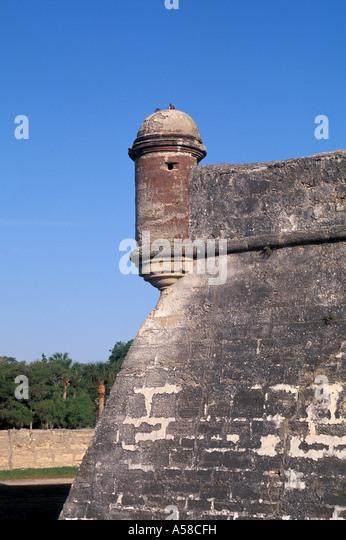 St Augustine, Florida Castillo de San Marcos national monument guard tower iconic florida landmark symbol - Stock Image