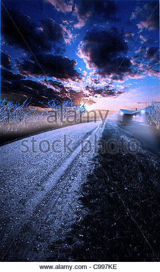 Winter morning Snow track Lonely Home Houses Architecture Buildings - Stock-Bilder