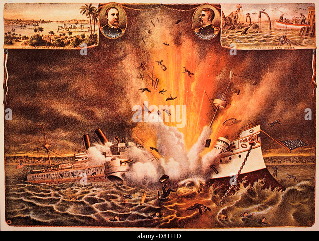 Destruction of Battleship Maine in Havana Harbor, February 15, 1898 , Chromolithograph, Kurz and Allison, 1898 - Stock-Bilder