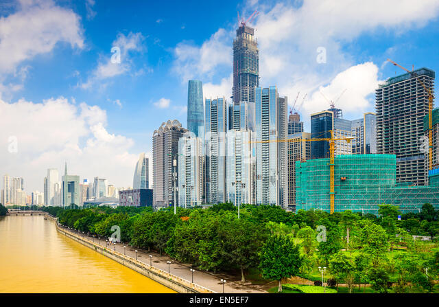 Guangzhou, China modern office building construction on the Pearl River. - Stock Image