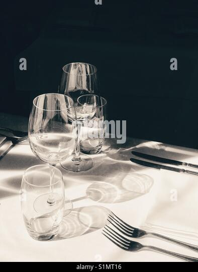 Glasses on a restaurant table - Stock Image