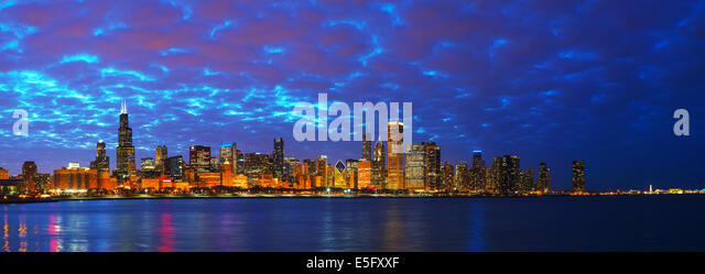 Chicago downtown cityscape panorama at sunset - Stock Image