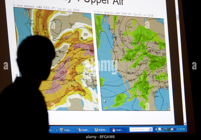 A meteorologist gives a forecast presentation to members of Project Vortex 2 in Kearney, Nebraska, USA, June 7, - Stock Image