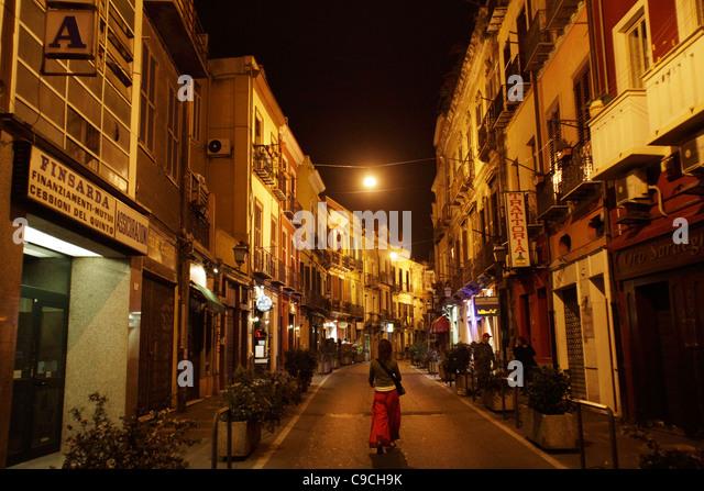 View from Via Vittorio Emanuele, Cagliari, Sardinia, Italy. - Stock Image