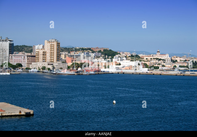 Cagliari Sardinia skyline town city skyline cityscape travel holiday vacation destination outside outdoor outdoors - Stock Image