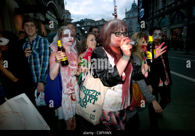 Zombie Walk and pub crawl for Halloween Piccadilly Circus London 2011. - Stock Image