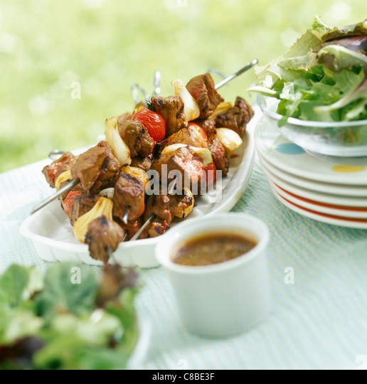 mutton skewers - Stock Image