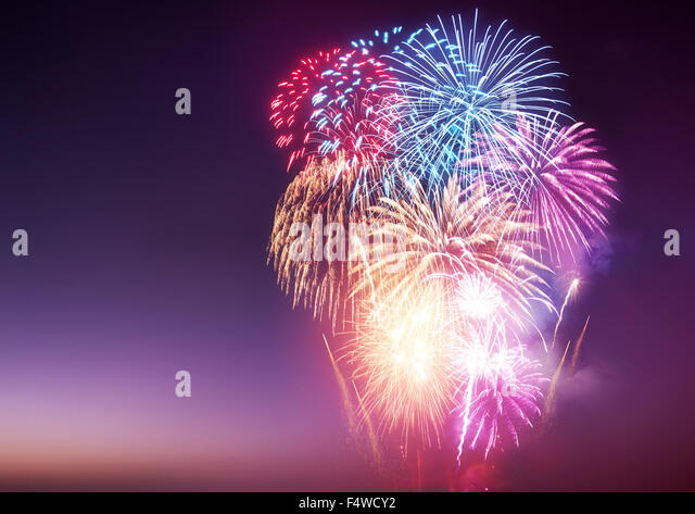 A Fireworks Display. A large fireworks event and celebrations. - Stock Image