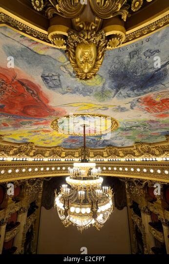 France, Paris, Garnier Opera, the ceiling cupola decorated by Marc Chagall in the auditorium and the 7 to 8 ton - Stock Image