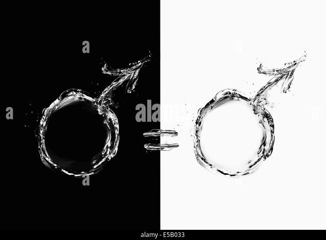 Two male gender symbols with equality between them symbolizing the equality between humans. - Stock Image
